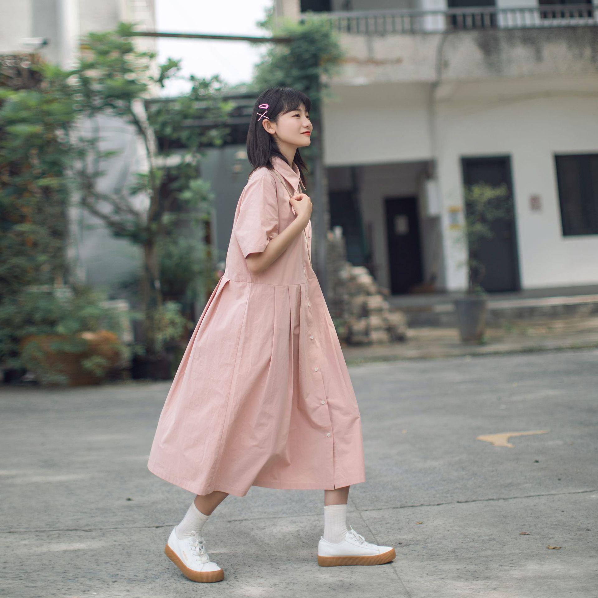2021 summer fashion Lapel cotton shirt short sleeve dress womens long style slim belly covering skirt long skirt sweet