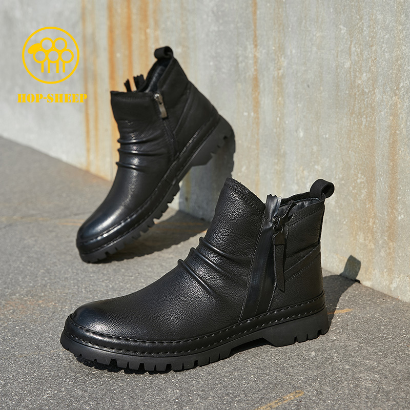 Street black sheep Chelsea Boots Mens leather British style high top leather shoes zipper Martin boots mens winter mid top boots