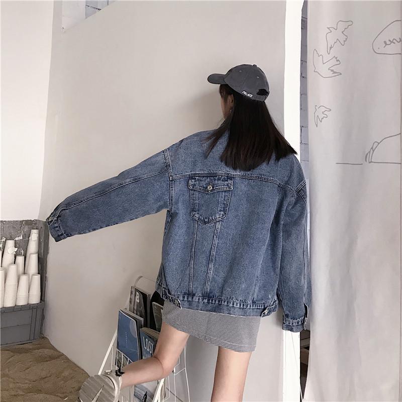 實拍2020新款設計感后背口袋牛仔外套女寬松休閑男女同款上衣夾克