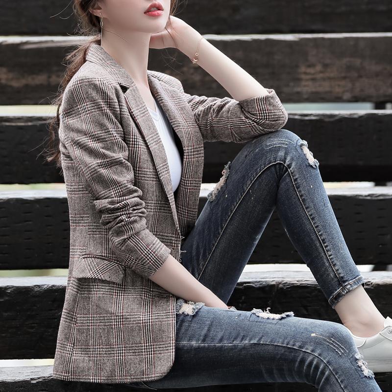 [蔻菲娅旗舰店西装]小西装女外套春秋季2019新款复古格月销量14344件仅售168元