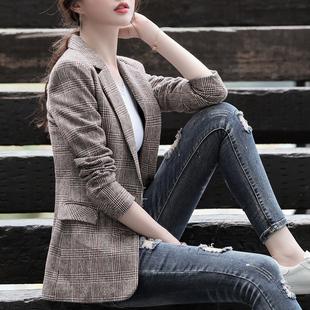 小西装女外套2019新款格子休闲春秋款复古网红西服上衣韩版英伦风图片