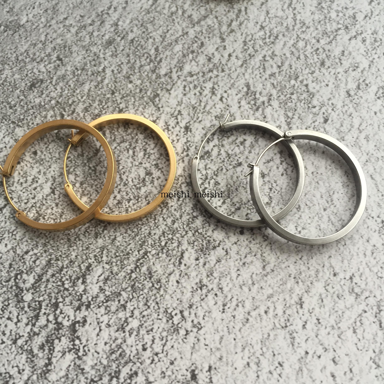 anna同款塞琳风复古简约时尚大圆圈圆形金属钛钢耳环耳饰mali