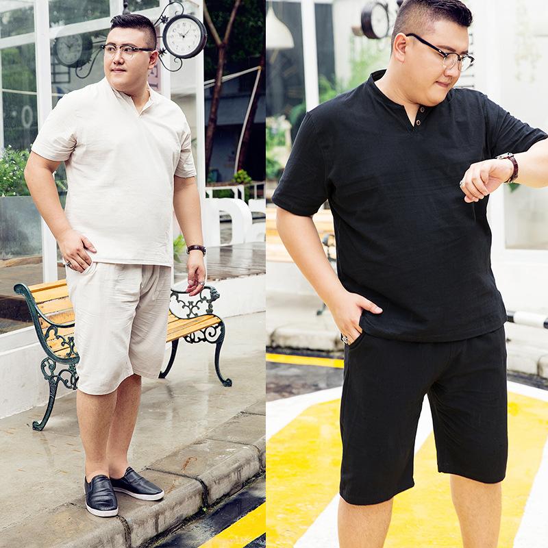 夏季肥胖男装加肥码棉麻套装胖子宽松亚麻短袖T恤休闲两件套