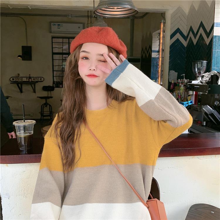 瑶瑶家快时尚女装~条纹撞色秋冬宽松圆领套头毛衣