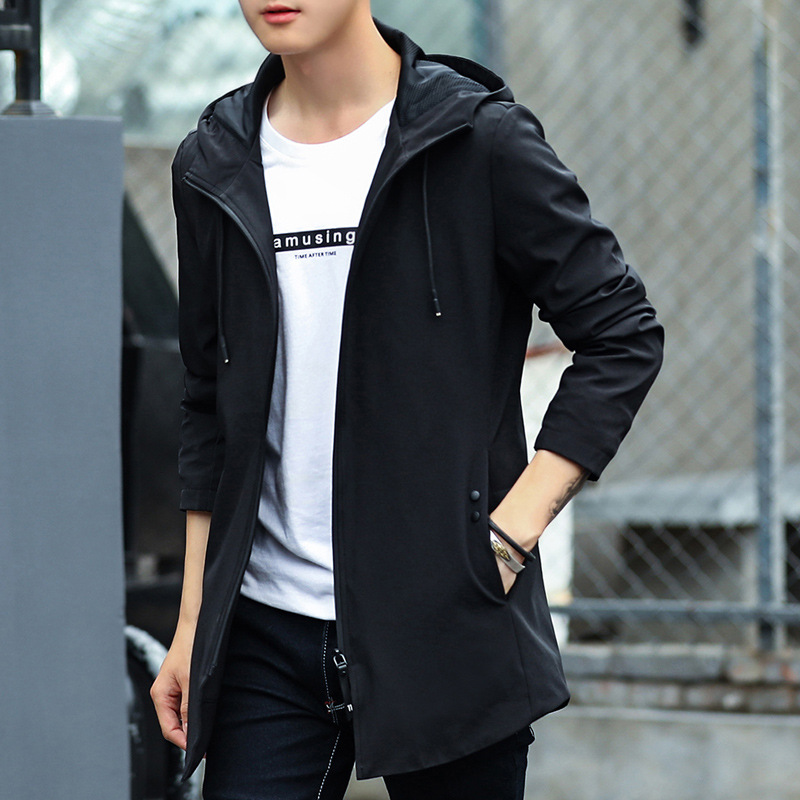 Mens medium long hooded jacket simple Korean casual mens jacket