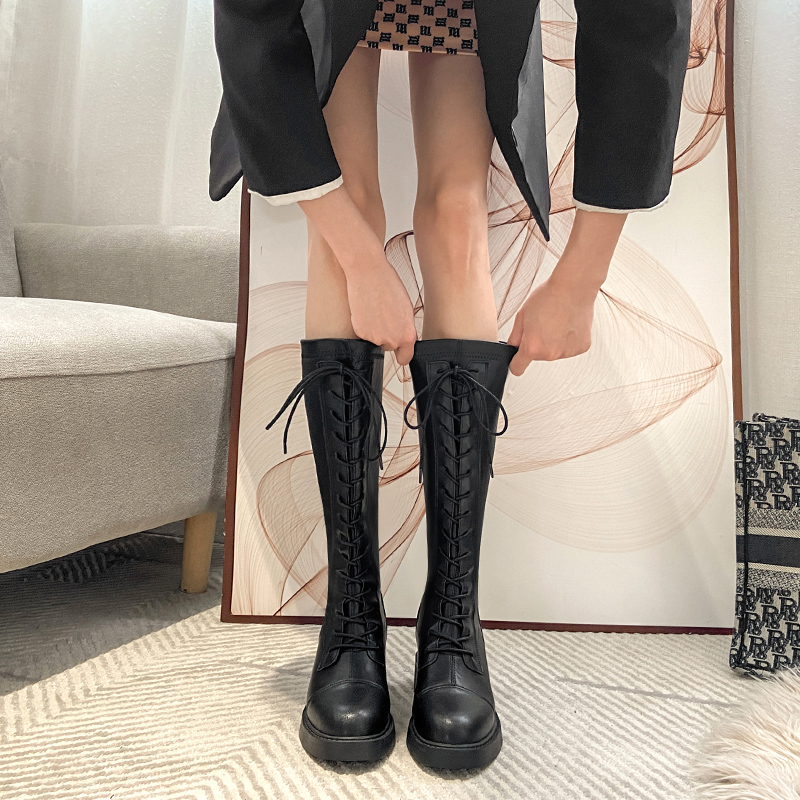 Womens high boots autumn and winter 2020 new Knight boots long thin elastic boots British boots Martin boots