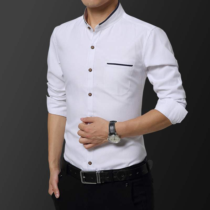 Mens long sleeve Chinese stand collar business leisure inside with cotton Chinese tunic grooms Chinese dress cotton small collar shirt