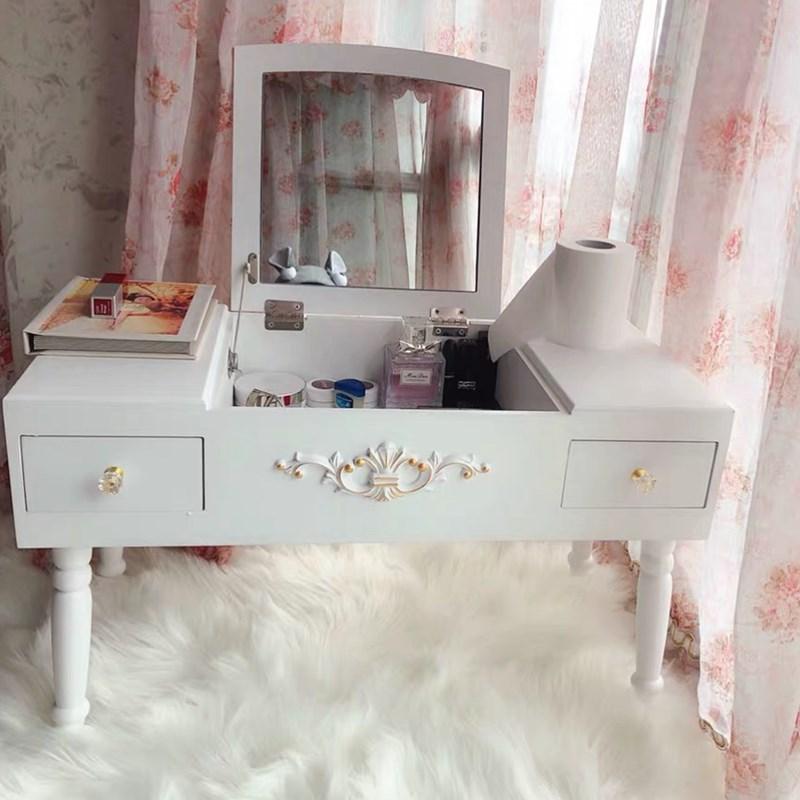 坐地化妆桌落地窗飘窗疏装台小化妆桌小型坐地上收卧室矮脚
