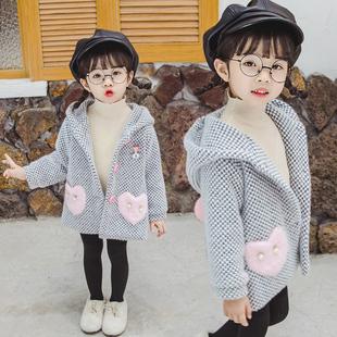 女童水貂绒外套2020秋冬新款洋气儿童加厚冬装女宝宝韩版呢子大衣