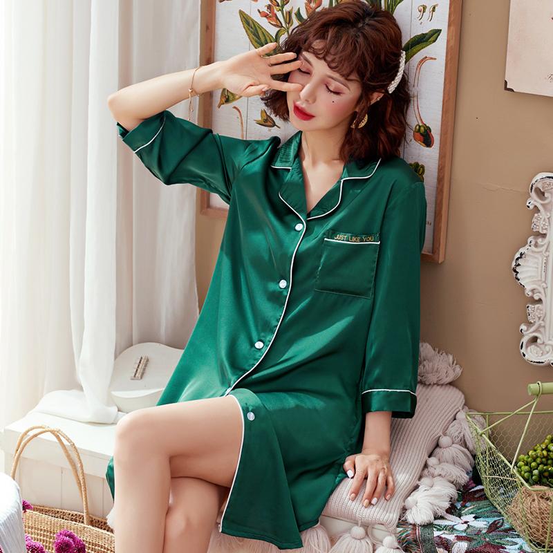 夏季长袖冰丝中长款衬衫裙性感睡裙满35元可用3元优惠券