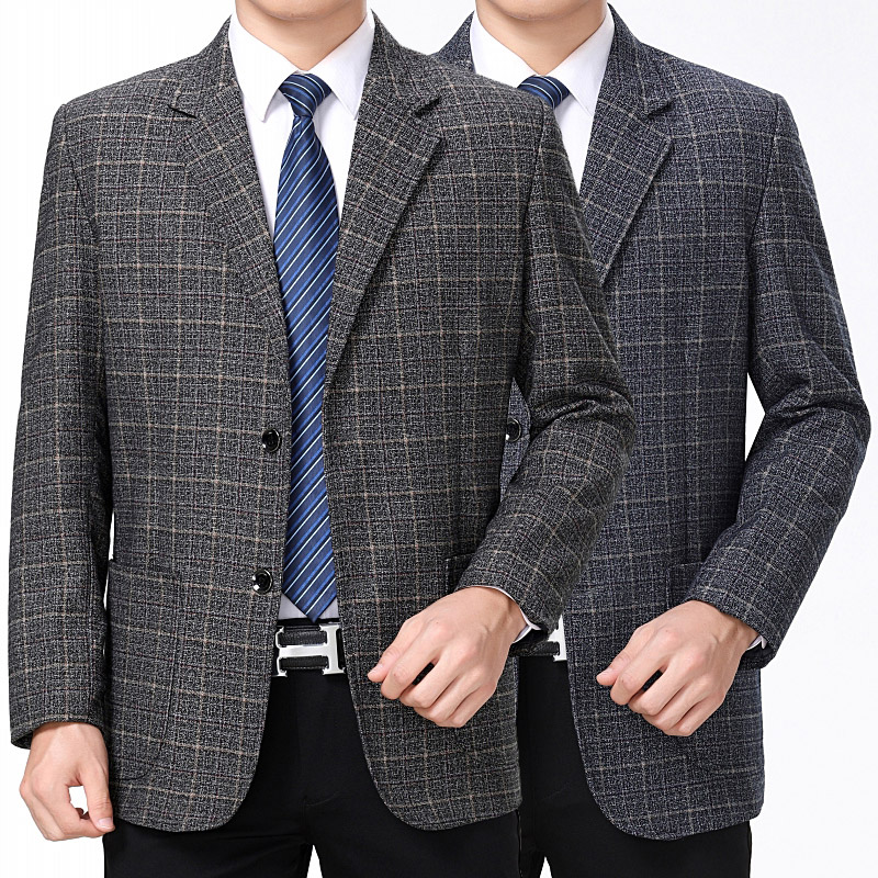 2021 spring new mens two button Plaid suit autumn and winter father suit business casual suit coat four seasons