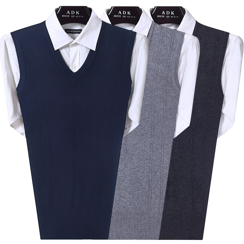Autumn middle aged mens knitted woolen vest V-neck waistcoat father old mans undershirt winter fathers dress