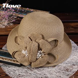 时尚卷边遮阳帽折叠棉麻花朵草帽