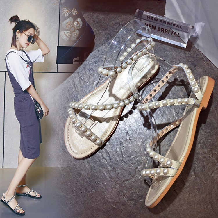 Summer womens shoes flat shoes Beaded fashion sandals casual Roman shoes leather comfortable trendy shoes 33-43 size