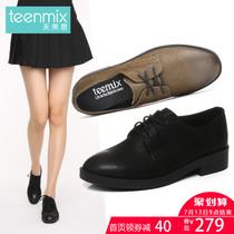 6B522CM7天美意秋专柜同款珠光牛皮方跟系带鞋女单鞋