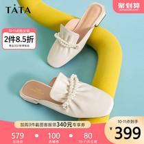 7QC02BH1夏时尚舒适外穿防滑穆勒鞋女拖鞋低跟平底2021他她Tata