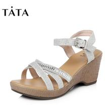 Tata / her summer counter same cloth with slope heel casual women's sandals t2013bl7