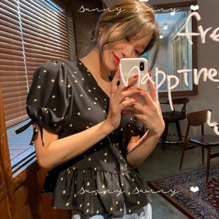 韓國鬼馬系少女設計感小眾雛菊上衣潮蝴蝶結短款學生甜美襯衫很仙