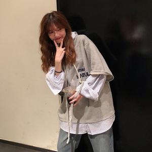 2021春秋新款韩版长袖假两件潮卫衣
