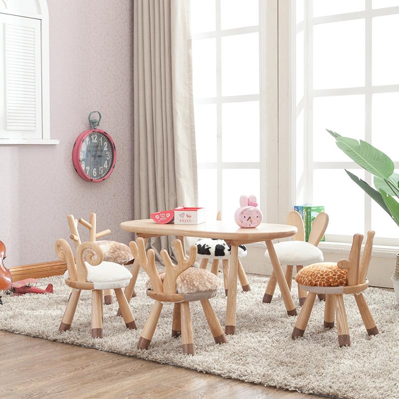 现代简约实木幼儿园桌椅组合学生儿童学习玩具手工长桌子个性家用