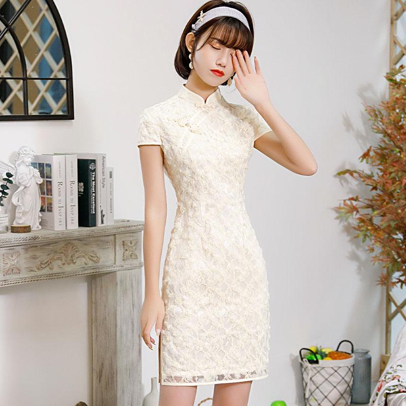 年轻款小个子旗袍150cm短款显高国风少女蕾丝2021年新款夏季气质