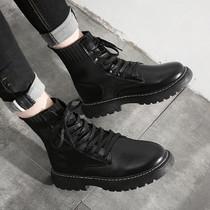 马丁靴男潮中帮工装靴子高帮英伦风男鞋春季百搭透气潮流黑色皮靴