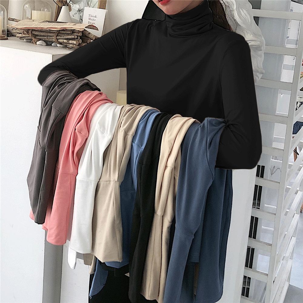 大码女装春季2020洋气内搭高领长袖t恤堆堆领200斤加绒黑色打底衫