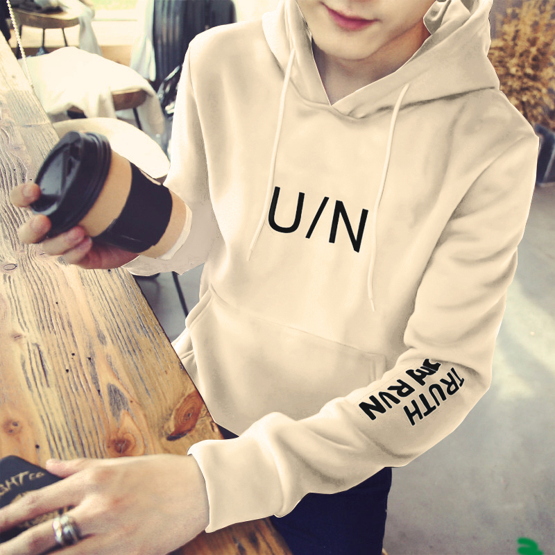 Autumn winter mens Hooded Sweater Korean version slim long sleeve T-shirt baseball uniform fashion mens Youth Large Plush bottomed shirt