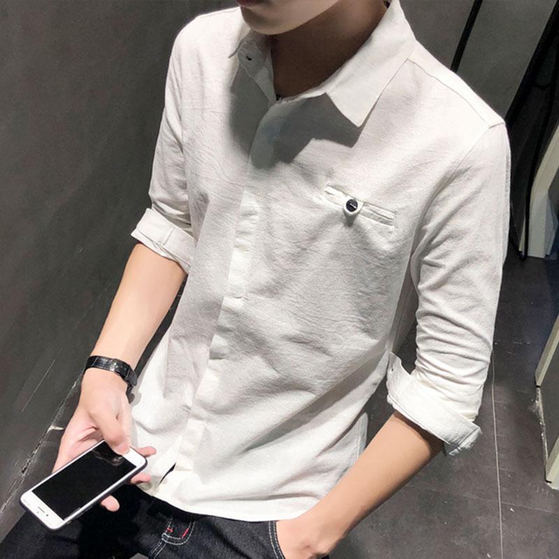 秋季新款男士长袖衬衫韩版修身衬衣青年休闲帅气纯色寸衫衣服潮流
