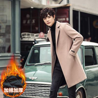 2019新款毛呢大衣男士秋冬季加棉加厚风衣 A262-F13-P95 量大从优