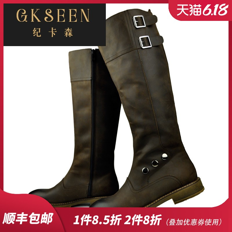 Gkseen top leather work boots leather mens boots fashion leather boots high top Martin boots long riding boots ct1211