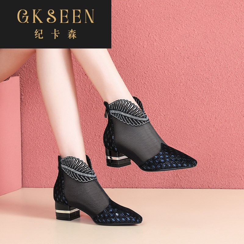 Gkseen leather gauze mesh short boots womens spring and autumn net boots leather hollow out summer thick heel pointed middle heel leather shoes rf0508