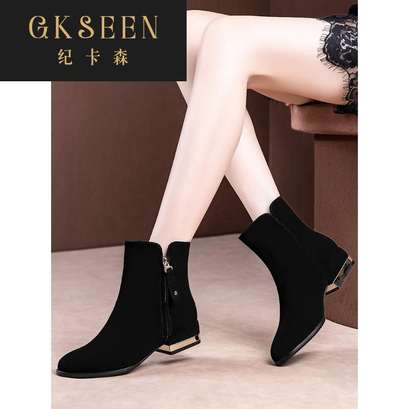 GKSEEN马丁靴子女平跟短靴女粗跟磨砂真皮中跟大码女靴踝靴RF0915