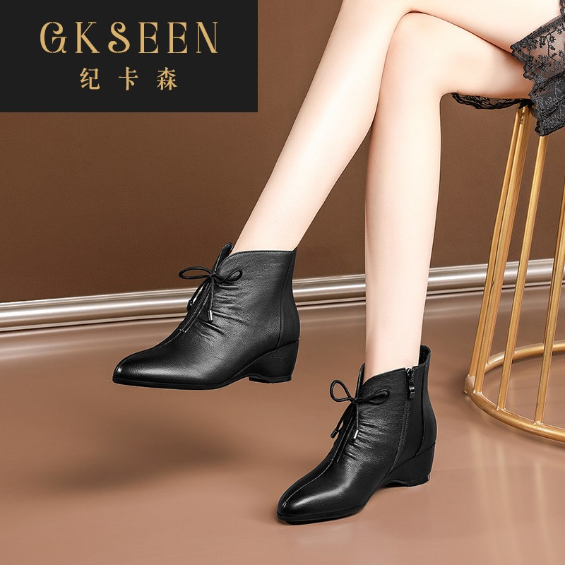 Gkseen short boots new spring and autumn single boots medium heel round head Martin boots womens slope heel casual large size womens boots rf0924