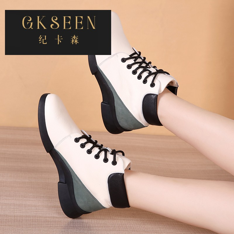 Gkseen thick soft soled Martin boots versatile autumn and winter leather lace up high top heel short boots comfortable flat bottom rf0903