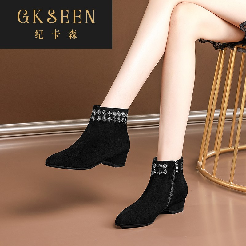 Gkseen small short boots spring and autumn single boots pointed slope Heel Black Suede nude boots large size water drill low heel women rf0924