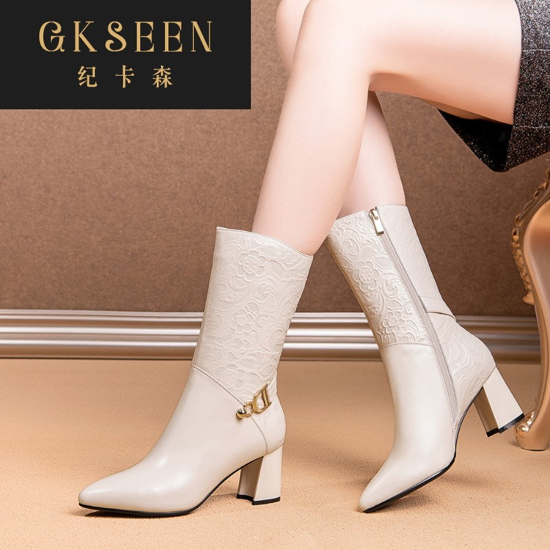 Gkseen shoes childrens versatile autumn and winter thick heel winter high heels pure leather medium boots Martin boots womens boots rf0913