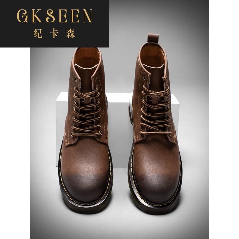 Gkseen Martin boots mens high top British style Korean work clothes boots autumn mid top mens boots desert mens shoes rf0912