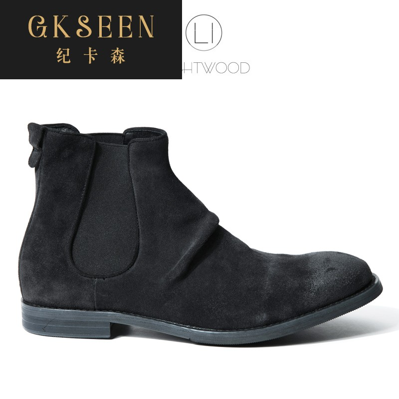 Gkseen Martin boots mens leather short boots desert boots frosted high top leather shoes retro Chelsea Boots Mens rf0911