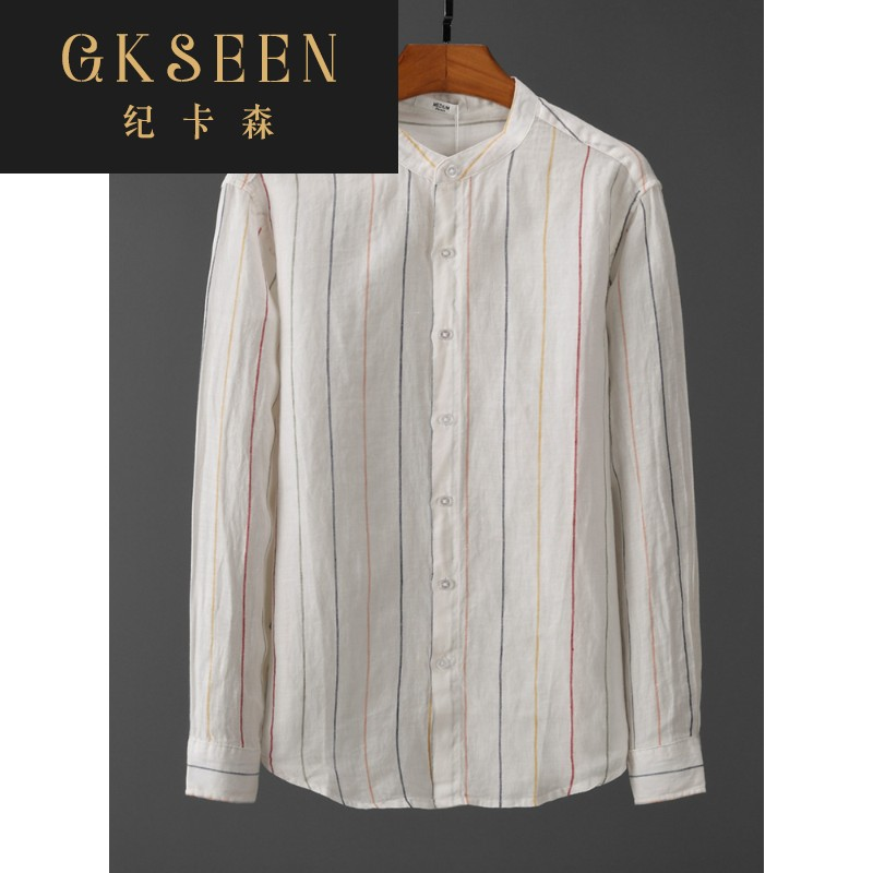 Gkseen stripe stand collar pure linen long sleeve mens shirt comfortable round neck Linen Shirt Top xj0813