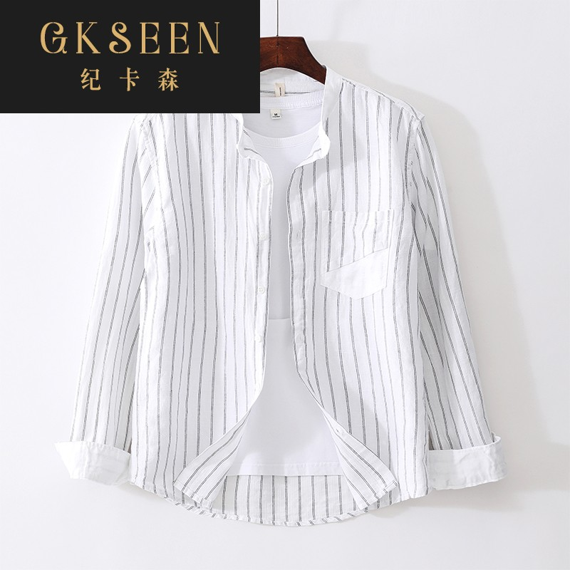 Gkseen Stripe Cotton hemp casual Round Neck Long Sleeve Shirt Mens loose fashion Korean handsome shirt rf0825