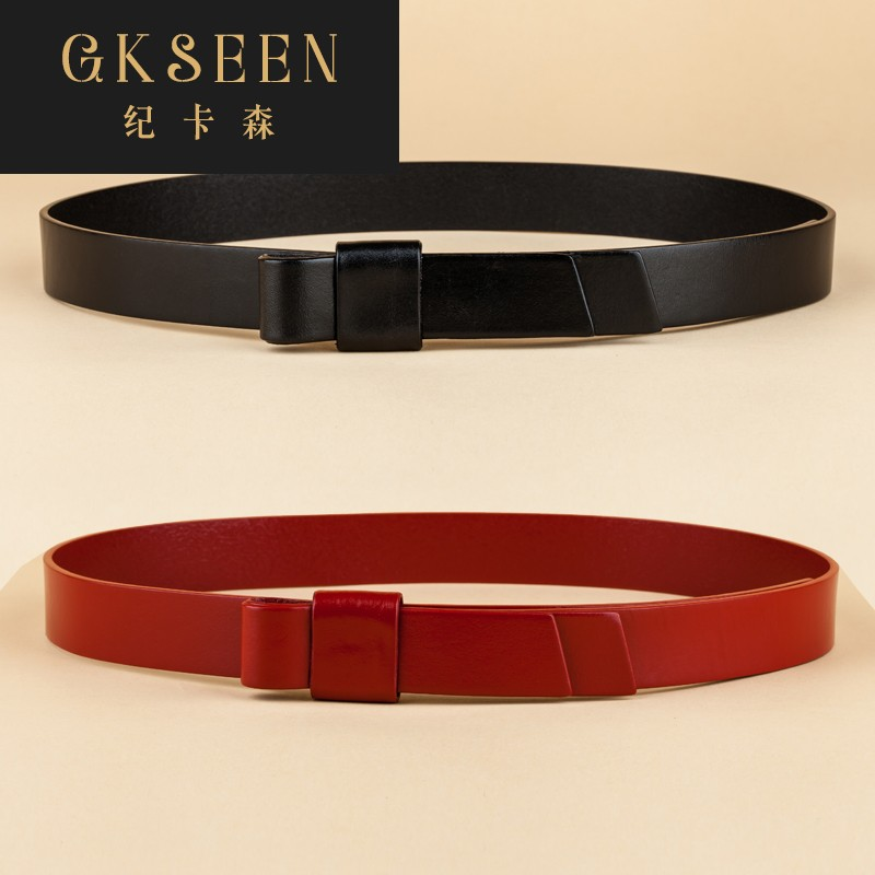 Gkseen Korean versatile cowhide belt womens fine decoration with shirt dress pants fur belt rf0702