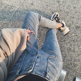高腰小个子九分小脚牛仔裤女2019秋装新款显瘦显高百搭修身铅笔裤图片