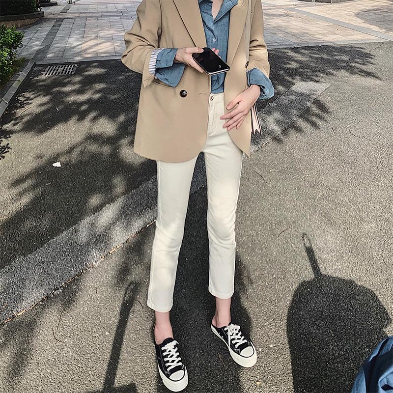 高腰直筒牛仔裤女2020年秋装新款小个子八分显瘦白色九分烟管裤子