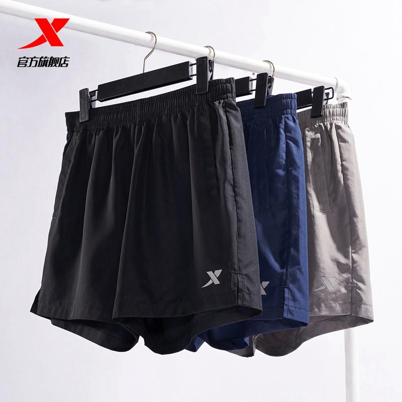 特步运动短裤男跑步短裤2021夏季新款裤子休闲梭织速干健身男短裤