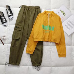 两件套潮秋季2019新款女装韩版洋气短款卫衣女嘻哈工装裤时尚套装