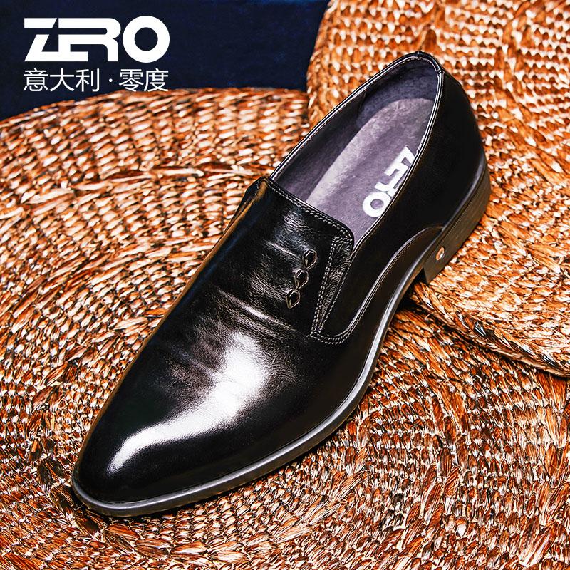 Zero零度正装皮鞋2018秋季新品韩版时尚商务休闲鞋头层牛皮德比鞋