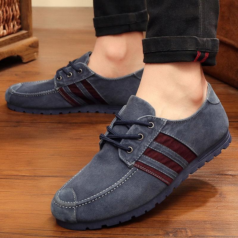 正品 老北京布鞋男款牛仔布帆布鞋系��平底休�e耐磨舒�m低�湍行�