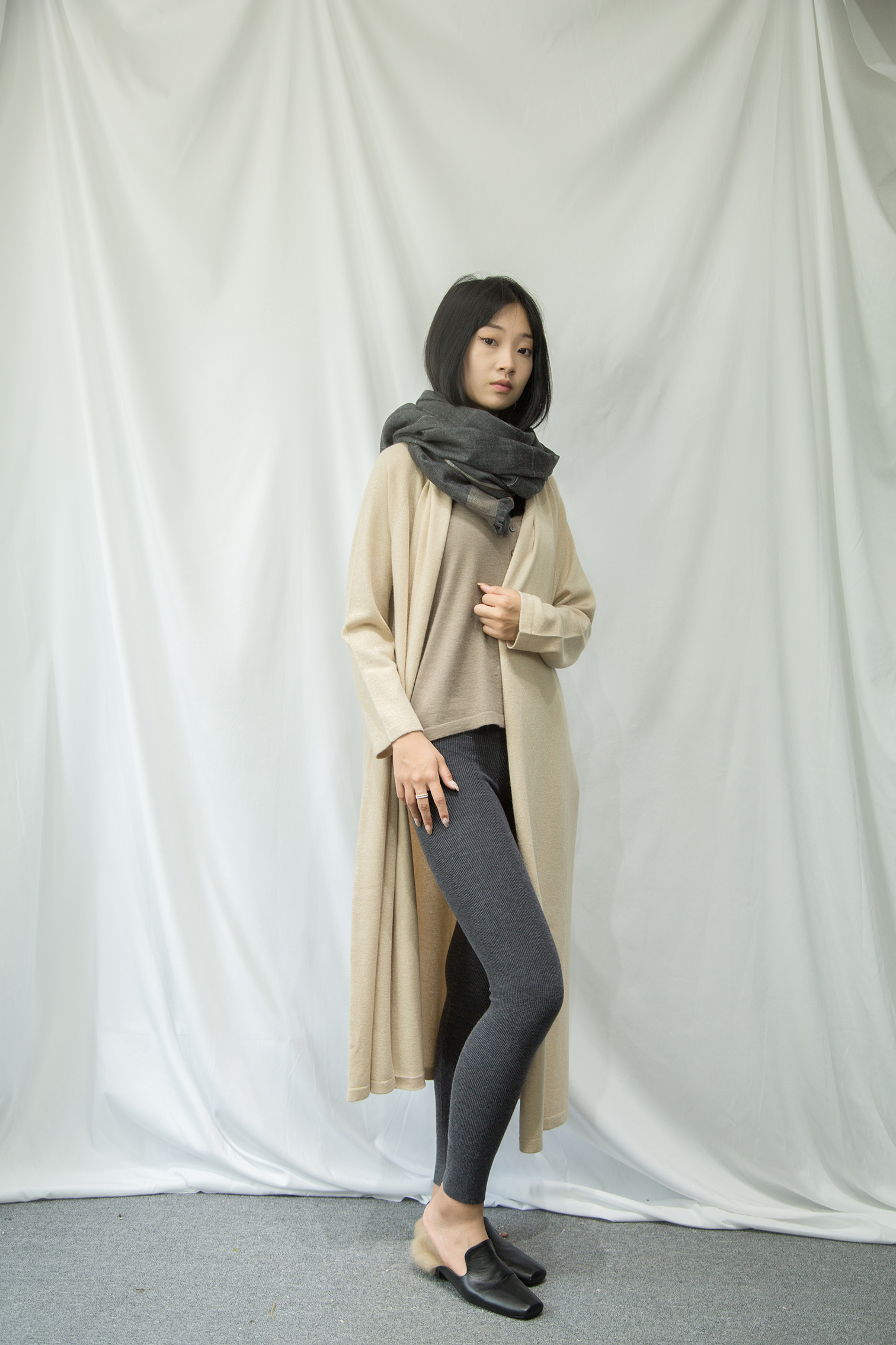 GRMSW096 贵绒玛女士 可外穿内搭保暖高腰螺纹百分百山羊绒美体裤