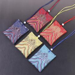 古风荷包袋 随身祈福 平安袋挂件 护身符袋 海浪花刺绣红布袋6*8